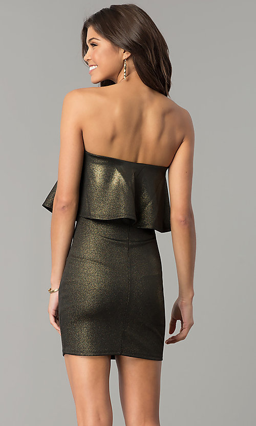 Image of short strapless black and gold popover party dress. Style: BLU-BD7384-3 Back Image