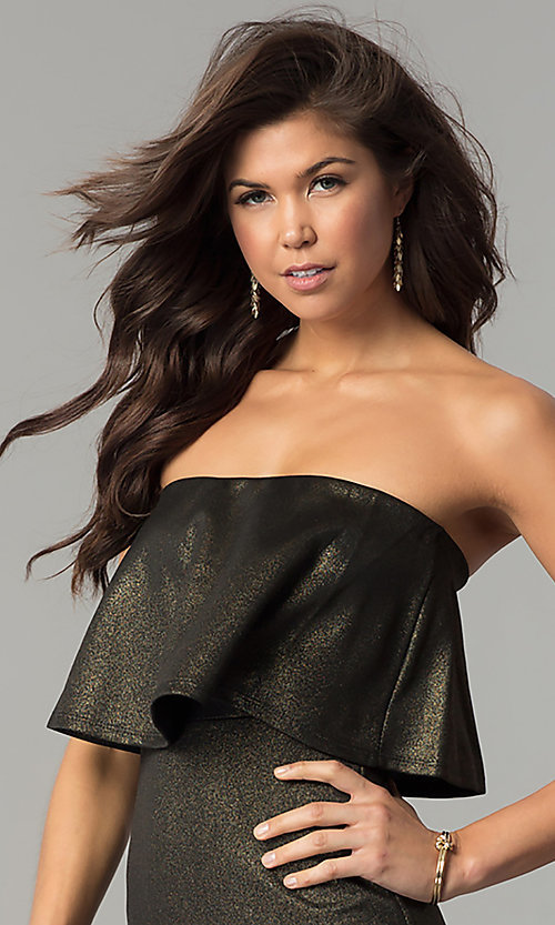 Image of short strapless black and gold popover party dress. Style: BLU-BD7384-3 Detail Image 1