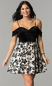 Image of short velvet-bodice off-the-shoulder party dress. Style: CT-8018CG6AT3 Front Image