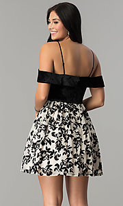 Image of short velvet-bodice off-the-shoulder party dress. Style: CT-8018CG6AT3 Back Image