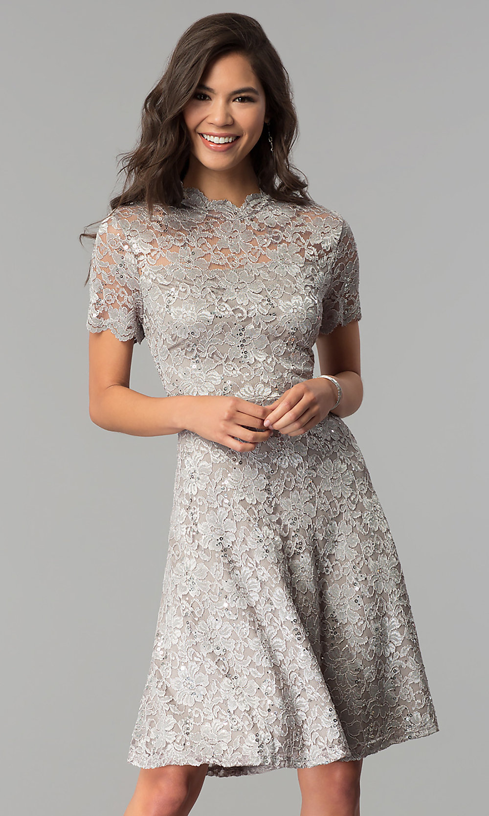 Short Sequined-Lace Wedding-Guest Dress - PromGirl