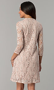Image of short shift lace holiday party dress with sleeves. Style: JU-TI-98045 Back Image
