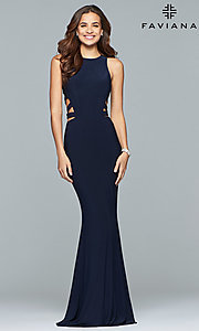 Image of long Faviana jersey prom dress with cut outs. Style: FA-8018 Front Image