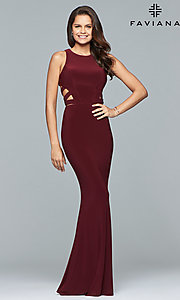 Image of long Faviana jersey prom dress with cut outs. Style: FA-8018 Detail Image 1