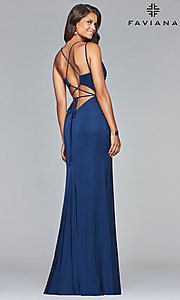 Image of v-neck open-back long satin prom dress by Faviana. Style: FA-S10012 Front Image