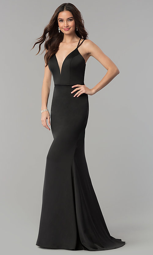 Image of v-neck open-back long satin prom dress by Faviana. Style: FA-S10012 Detail Image 2
