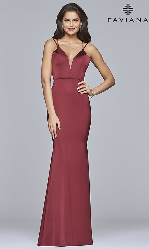 Image of v-neck open-back long satin prom dress by Faviana. Style: FA-S10012 Detail Image 4