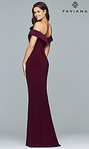 Image of Faviana long off-the-shoulder formal prom dress. Style: FA-S10015 Back Image
