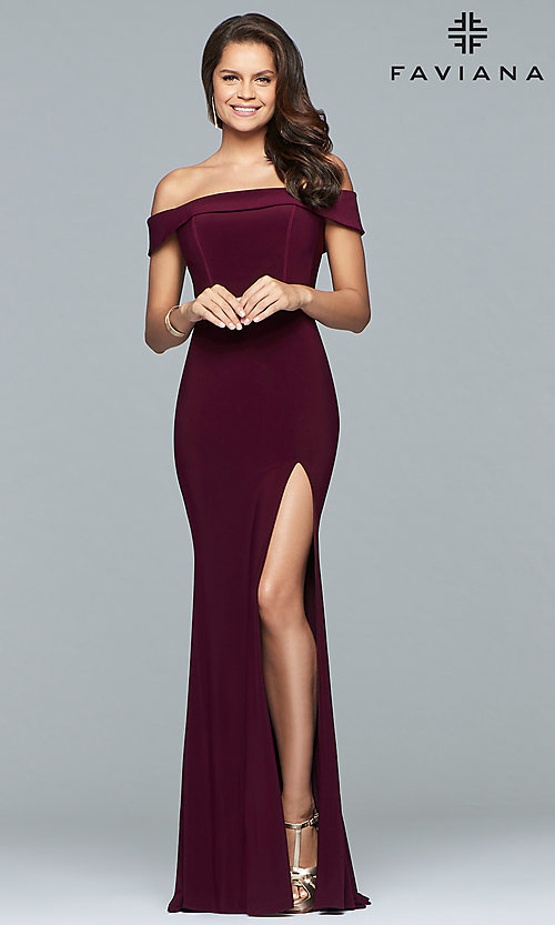 Image of Faviana long off-the-shoulder formal prom dress. Style: FA-S10015 Detail Image 1