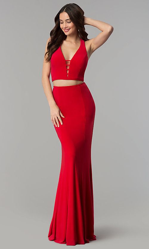 Image of long two-piece open-back Faviana prom dress. Style: FA-10056 Front Image