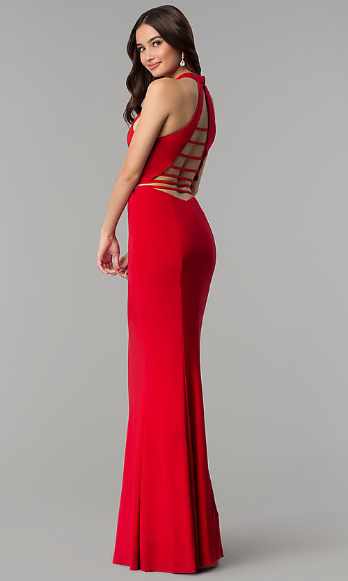 Image of long two-piece open-back Faviana prom dress. Style: FA-10056 Back Image
