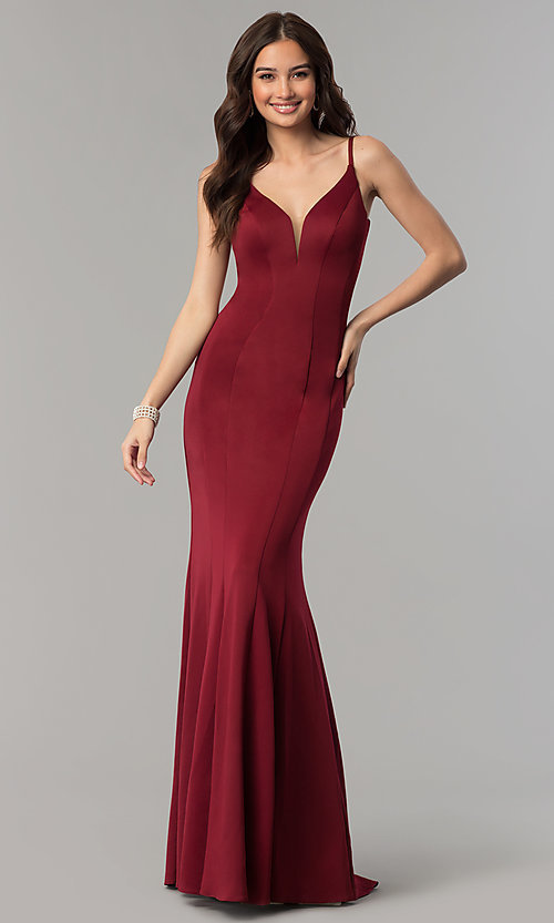 Image of Faviana mermaid prom dress with cut-out open back. Style: FA-10071 Front Image