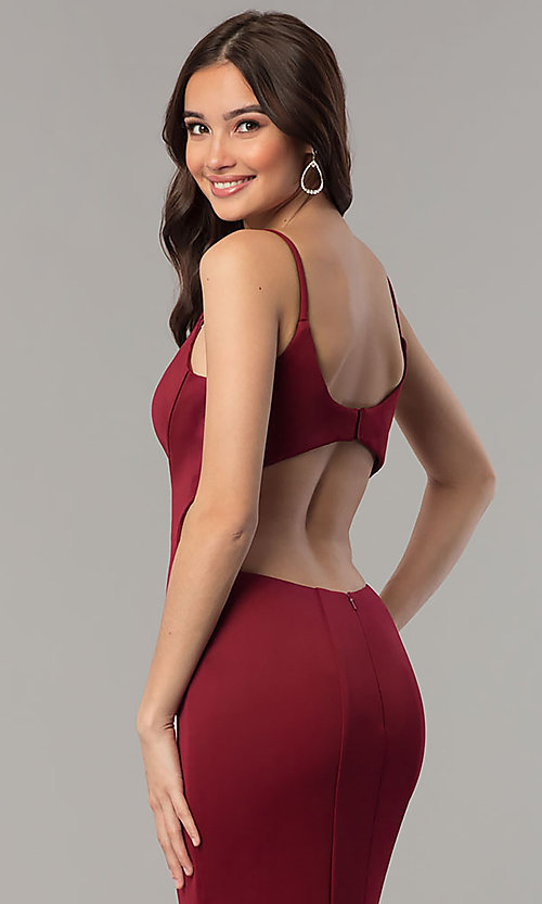 Image of Faviana mermaid prom dress with cut-out open back. Style: FA-10071 Detail Image 2