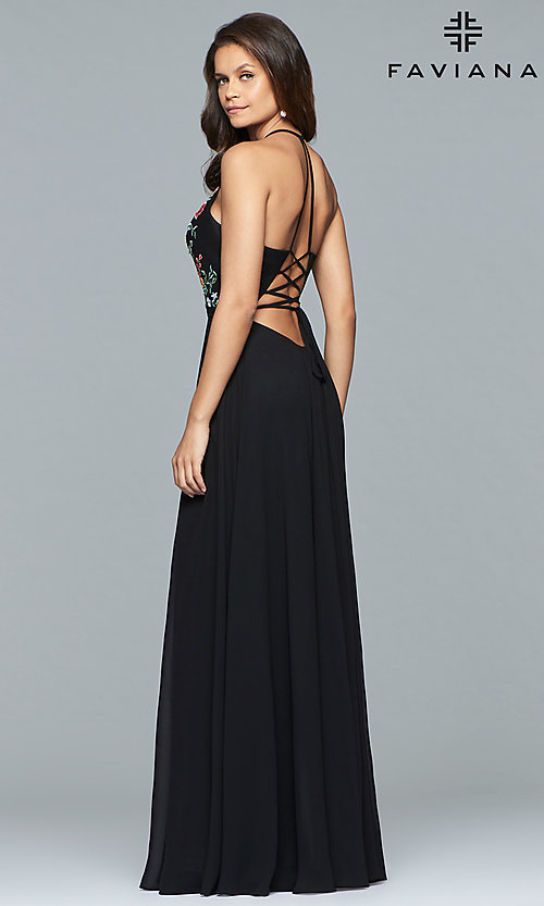 Image of long chiffon open-back embroidered prom dress. Style: FA-10000 Back Image