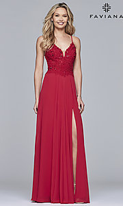 Image of chiffon prom dress with sheer embroidered bodice. Style: FA-10005 Detail Image 2