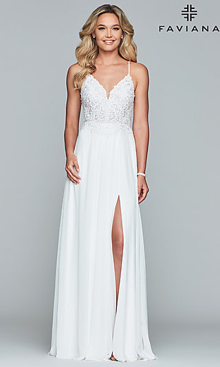Chiffon Prom Dress with Sheer Embroidered Bodice