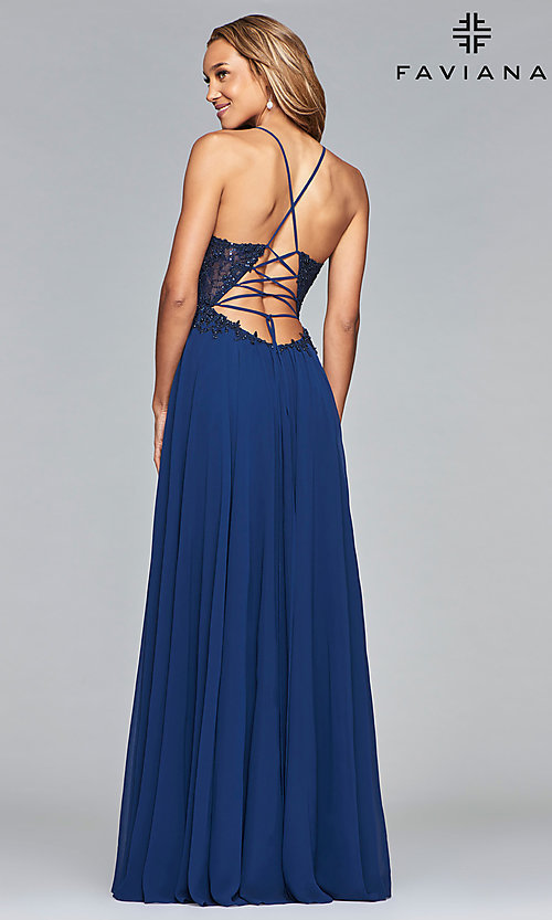 Image of chiffon prom dress with sheer embroidered bodice. Style: FA-10005 Back Image