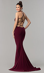 Image of Faviana long jersey prom dress with strappy open back. Style: FA-10014 Front Image