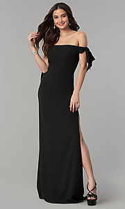 Image of off-the-shoulder long prom dress with collar. Style: FA-S10075 Detail Image 2