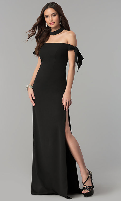 Image of off-the-shoulder long prom dress with collar. Style: FA-S10075 Front Image