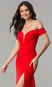 Image of long red Faviana off-the-shoulder prom dress. Style: FA-S10093 Detail Image 1