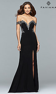 Image of long jersey off-shoulder prom dress with embroidery. Style: FA-S10001 Detail Image 1