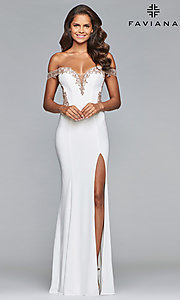 Image of long jersey off-shoulder prom dress with embroidery. Style: FA-S10001 Back Image
