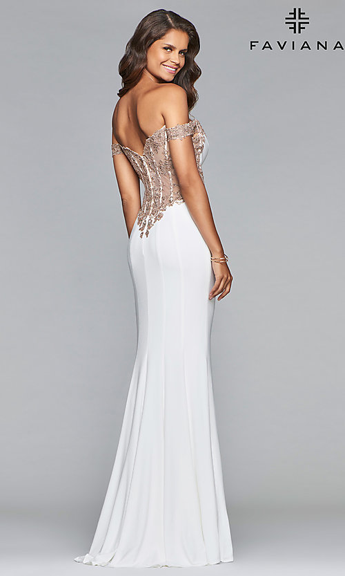 Image of long jersey off-shoulder prom dress with embroidery. Style: FA-S10001 Front Image