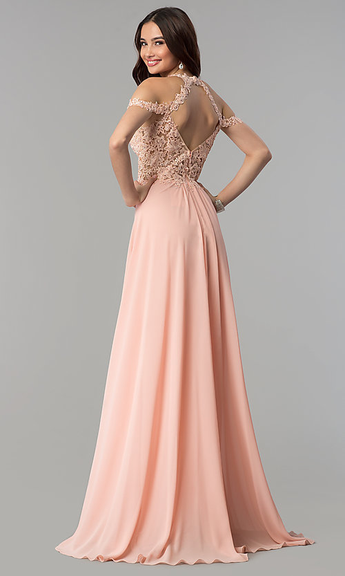 Image of long cold-shoulder chiffon prom dress by Faviana. Style: FA-10006 Back Image