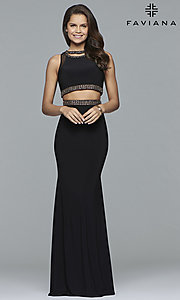 Image of Faviana long two-piece jersey prom dress with beads. Style: FA-S10033 Front Image