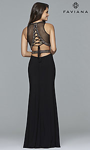 Image of Faviana long two-piece jersey prom dress with beads. Style: FA-S10033 Back Image