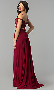 Image of long two-piece off-the-shoulder prom dress. Style: FA-10045 Back Image