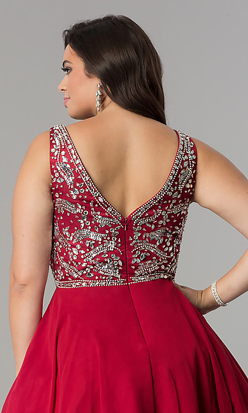 Image of short plus-size beaded v-neck chiffon party dress. Style: DQ-2118P Detail Image 2