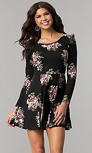 Image of casual short floral-print party dress with sleeves. Style: EM-FPY-3452-022 Front Image