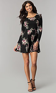 Image of casual short floral-print party dress with sleeves. Style: EM-FPY-3452-022 Detail Image 3