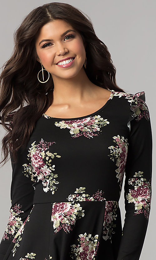 Image of casual short floral-print party dress with sleeves. Style: EM-FPY-3452-022 Detail Image 1