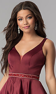Image of accented-waist short burgundy red satin party dress. Style: DQ-2149 Detail Image 1