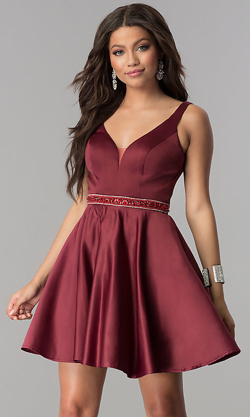 Image of accented-waist short burgundy red satin party dress. Style: DQ-2149 Front Image