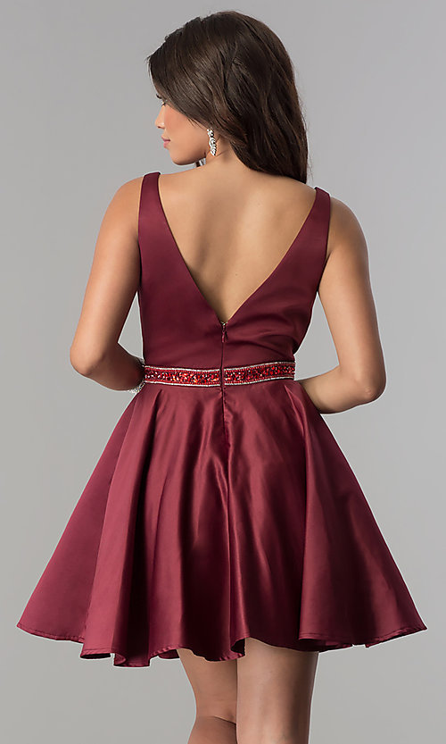 Image of accented-waist short burgundy red satin party dress. Style: DQ-2149 Back Image