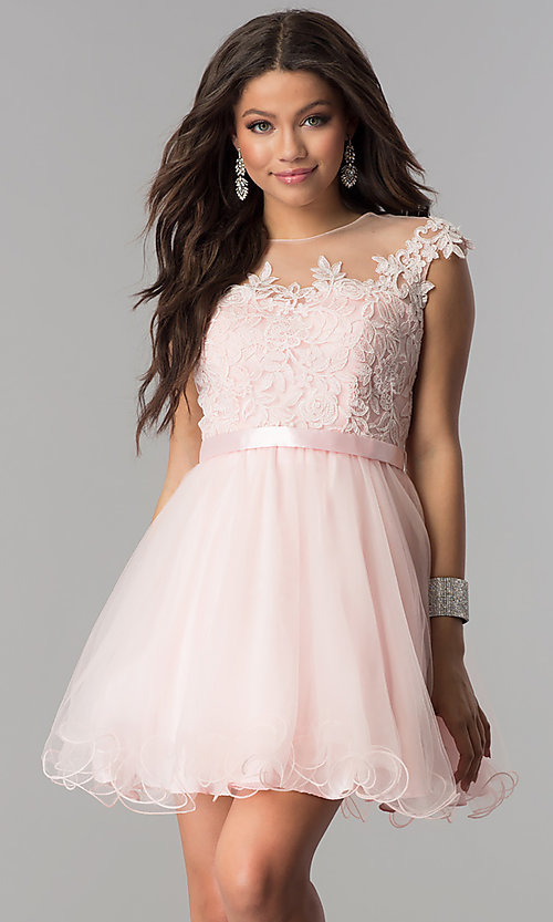 Image of lace-applique-bodice short homecoming dress. Style: DQ-2153 Front Image