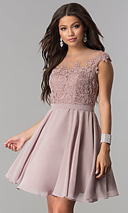 Image of short chiffon party dress with lace-applique bodice. Style: DQ-2175 Front Image