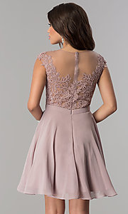 Image of short chiffon party dress with lace-applique bodice. Style: DQ-2175 Back Image
