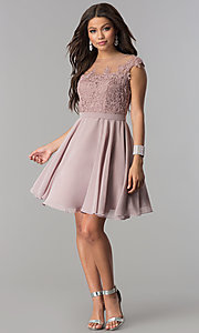 Image of short chiffon party dress with lace-applique bodice. Style: DQ-2175 Detail Image 2