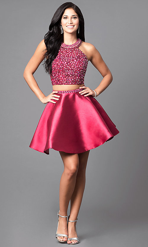 Image short wine red two-piece a-line homecoming dress. Style: BL-IN-227-v Detail Image 1