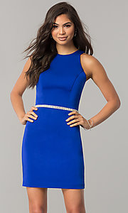 Image of short sleeveless homecoming dress with jeweled waist. Style: DQ-2065R Detail Image 2