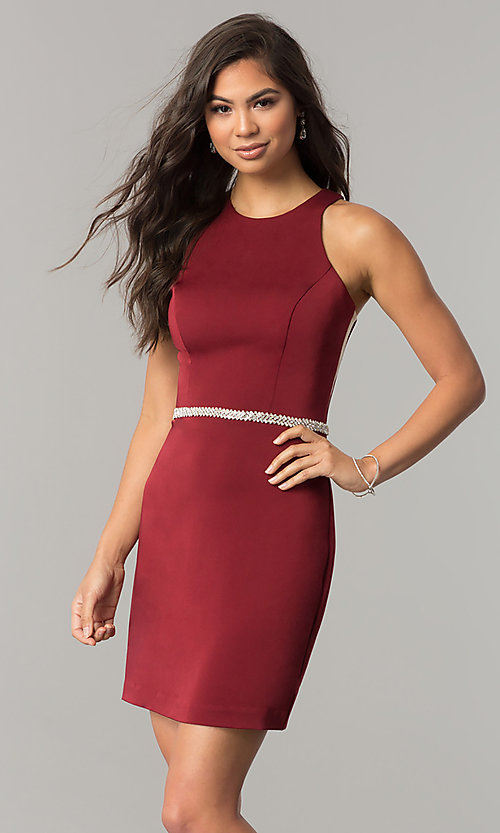 Image of short sleeveless homecoming dress with jeweled waist. Style: DQ-2065R Detail Image 3