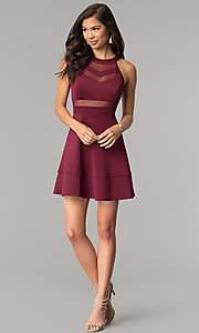 Image of short wine red a-line party dress. Style: EM-DHX-1003-562 Detail Image 2