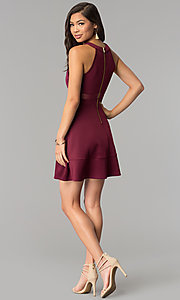Image of short wine red a-line party dress. Style: EM-DHX-1003-562 Detail Image 3