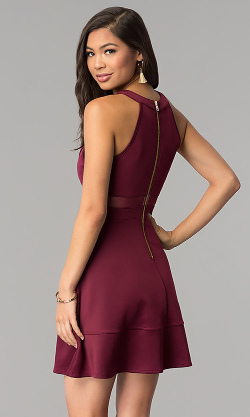 Image of short wine red a-line party dress. Style: EM-DHX-1003-562 Back Image