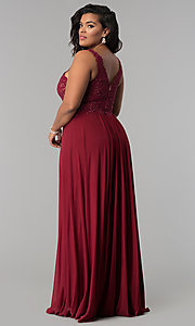 Image of long Faviana plus-size embroidered prom dress. Style: FA-9428 Detail Image 2